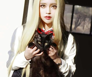 asian girl, black cat, and cosplay image