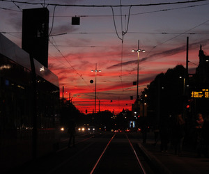 sky, city, and red image