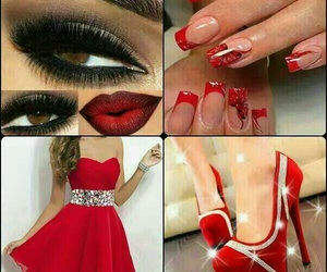 red, dress, and nails image