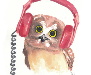 owl, music, and drawing image