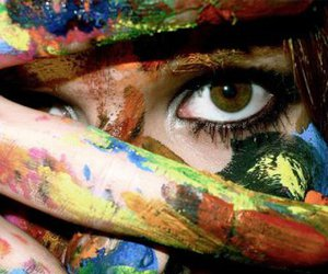 girl, paint, and eyes image