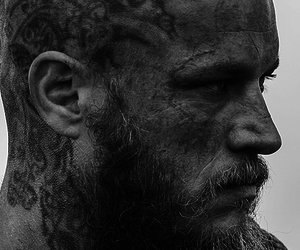 black and white, model, and vikings image