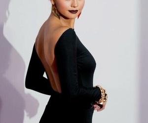 selena gomez, make up, and dress image