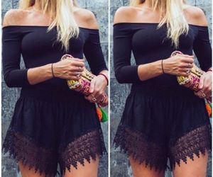 beach, black, and romper image