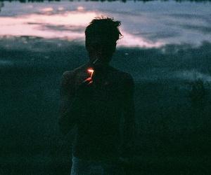 boy, cigarette, and smoke image