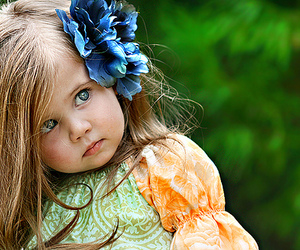 baby, blue eyes, and flower image