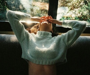 girl, sweater, and nature image