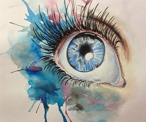 art, eye, and watercolor image