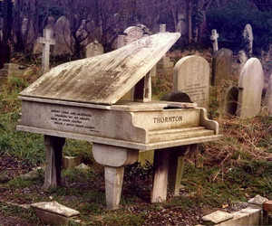 piano, cemetery, and death image