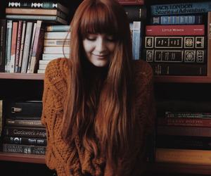 books, ginger, and girl image