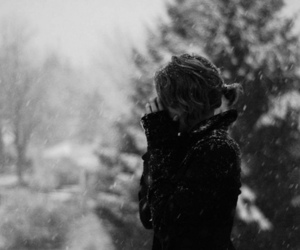 girl, snow, and black and white image