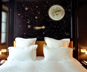 bedroom, bed, and stars image