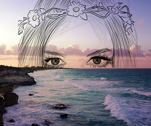 eyes, art, and sea image