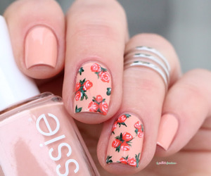 girl, nails, and roses image