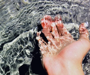 water, hand, and summer image
