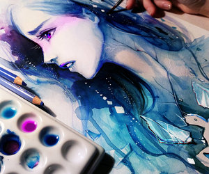 anime, art, and water color image