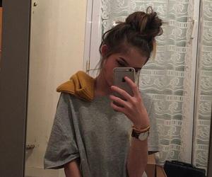beautiful, shirt, and bun image