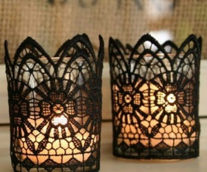 black, candle, and dentelle image