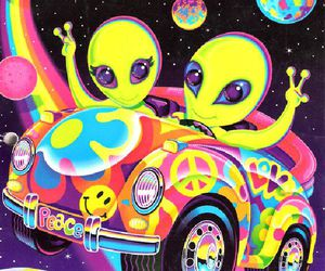 alien, lisa frank, and peace image