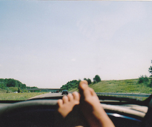 car, feet, and road image