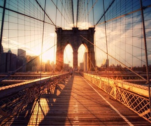 bridge, sun, and new york image