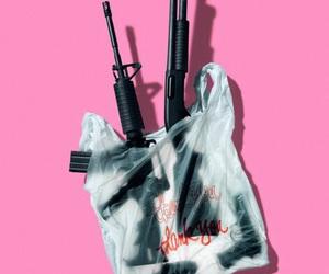 gun, pink, and grunge image