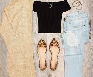 animal print, boyfriend jeans, and cardigan image