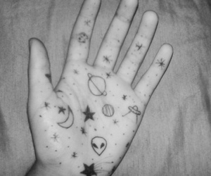 alien, hand, and black and white image