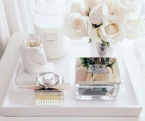 flowers, perfume, and white image