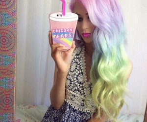 hair, iphone, and rainbow hair image