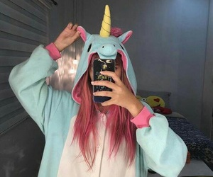 girl, unicorn, and hair image