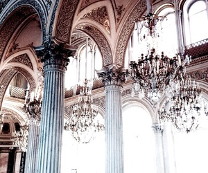 architecture, luxury, and chandelier image