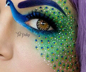 makeup, peacock, and art image