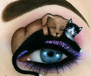dog, cat, and eyes image