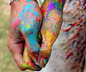 hands, rainbow, and love image