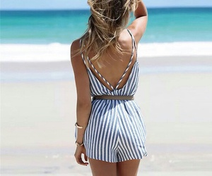 beach, jumpsuit, and fashion image