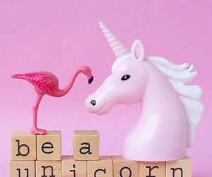 unicorn, pink, and flamingo image