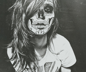 girl, skull, and black and white image