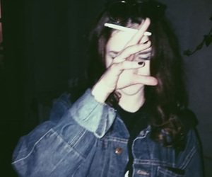 grunge, girl, and smoke image