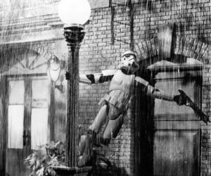 black and white, singing, and rain image