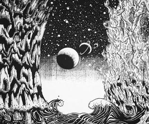 black&white, dark, and moon image