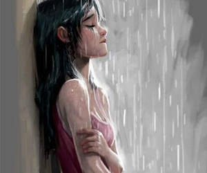 alone, lonely, and rain image