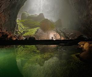 cave, green, and lake image