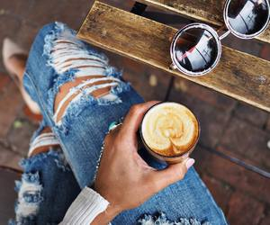 jeans, coffee, and fashion image