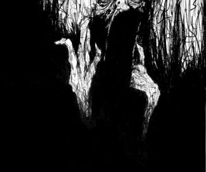 art, black and white, and horror image