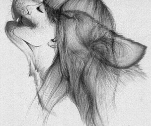 wolf, girl, and drawing image