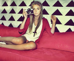 girl, camera, and red image