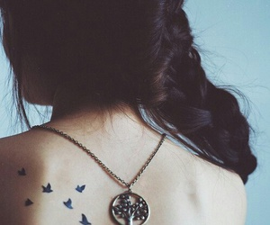 tattoo, bird, and hair image
