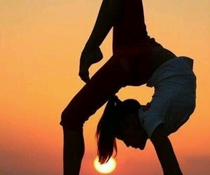 sunset, yoga, and sun image