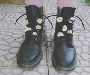 dirty, doc martins, and flowers image